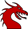 Dragon Head Silhouette Red Clip Art