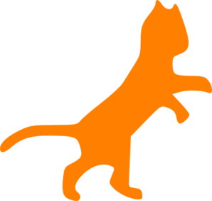Orange Cat Dancing Sillohette Clip Art