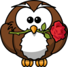 Owl With Rose Clip Art