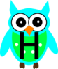 Turquoise Owl H Clip Art