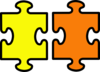 Puzzle Pieces Yellow And Orange Clip Art