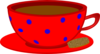 Red Cup, Saucer, Blue Polka Dots Clip Art