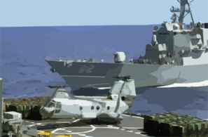 A Ch-46 Sea Knight Transfers Supplies From The Fast Combat Support Ship Uss Bridge Clip Art
