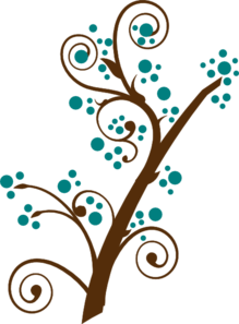 Teal And Brown Tree Branch Clip Art