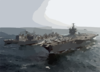 The Nuclear Powered Aircraft Carrier Uss Enterprise (cvn 65), Fast Combat Support Ship Uss Detroit (aoe 4), And The Guided Missile Cruiser Uss Gettysburg (cg 64) Perform A Replenishment At Sea. Clip Art