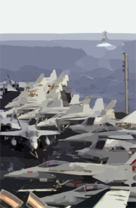 Various Navy Aircraft Are Chocked And Chained To The Flight Deck, As The Guided Missile Cruiser Uss Princeton (cg-59) Steams Forward Of Uss Nimitz (cvn 68) Clip Art