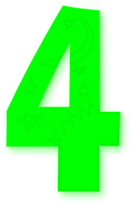 Kids Number Bright Green Clip Art
