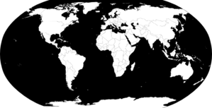 World Map Vector B/w Clip Art