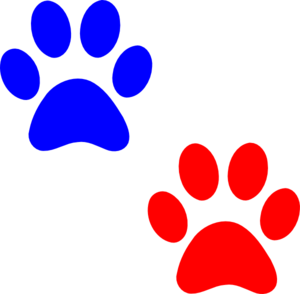 Paw Logo Blue Red Clip Art