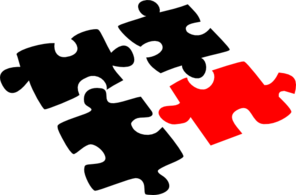Puzzle Pieces Red And Black Clip Art