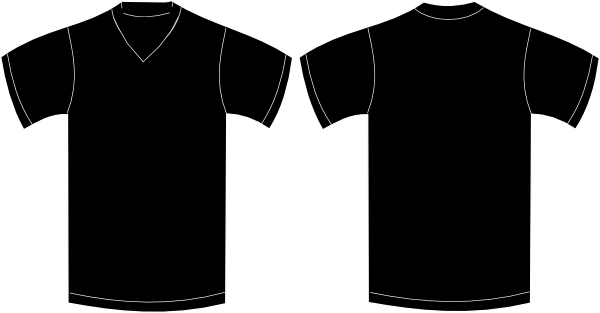V neck black tshirt clip art at vector clip V neck black t shirt
