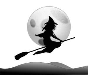 Witch Flying Moon Clip Art