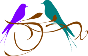 Love Birds Purple And Teal Clip Art