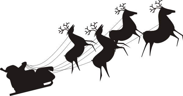 Santa And Reindeer Silhouette Png PNG small  medium  large
