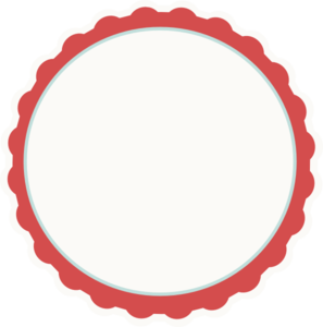Red-ivory-aqua Scallop Circle Frame Clip Art