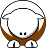 Sheep - White On Brown No Eyeballs  Clip Art