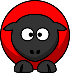 Sheep - Red On Red On Black Cross Eyed Clip Art