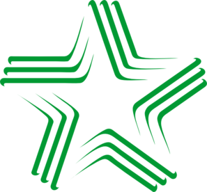 Green Gradient Star With Stripes Clip Art