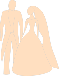 Orange Bride And Groom Clip Art