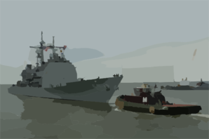 The Guided Missile Cruiser Uss Leyte Gulf (cg 55), Departs Norfolk Naval Base. Clip Art