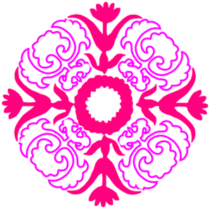 Damask Flourish- Pink Orange Clip Art