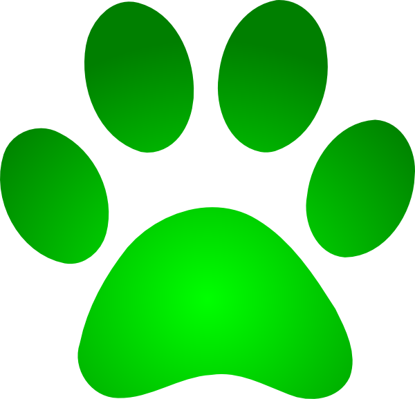 Green Paw Print With Gradient Clip Art at Clker.com - vector clip art ...