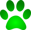 Green Paw Print With Gradient Clip Art