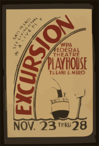 Excursion  Wpa Federal Theatre Playhouse, Tulane & Miro Sail In And See Living Actors In A Live Play. Clip Art