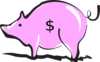 Shiny Pink Piggy Bank Clip Art