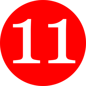 Red, Rounded,with Number 11 Clip Art