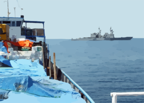 U.s. Navy Destroyer Inspects Merchant Vessel In The Arabian Gulf. Clip Art