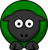 Sheep Looking Straight Dark Green Clip Art