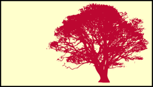 Tree, Pink Red, Silhouette, Yellow Background Clip Art