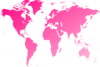 World Map Pink On Black Clip Art