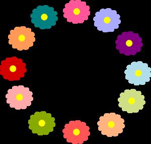 Rainbow flower wreath clip art at clker com vector clip art online