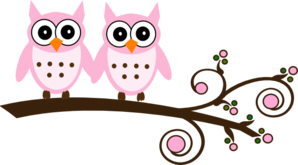 Twin Pink Blue Owls On Branch Clip Art