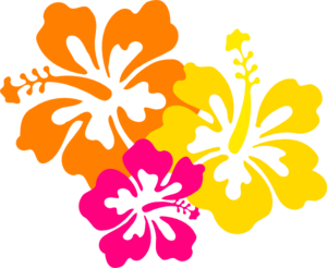 Hibiscus Flowers 4 Grouped Clip Art