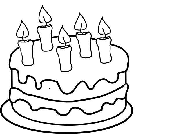 Birthday Cake Pictures Black And White : Bday Cake 5 Candles Black And White Clip Art at Clker.com ...