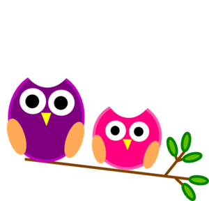Purple And Pink Owls Clip Art