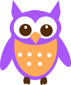 Purple Orange Owl Clip Art