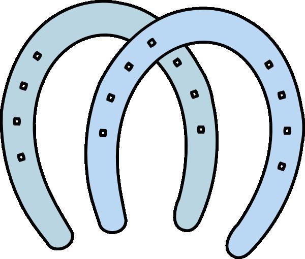 double horeshoes blue clip art at clkercom vector clip