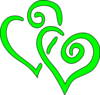 Big  Lime Green Hearts Clip Art