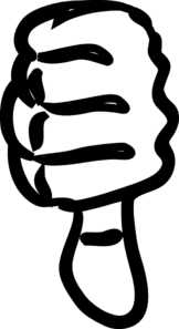 Thumbs Down Black And White Clip Art