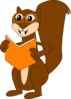 Reading Brown Squirrel Clip Art