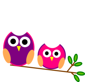 Cute Pink And Purple Owls Clip Art