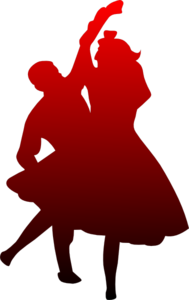 Dancing Couple Red To Black Clip Art