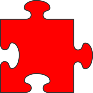 Blue Border Puzzle Piece Top-red Fill Clip Art