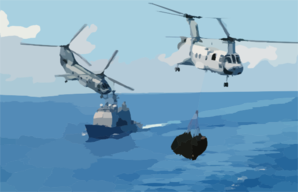 Two Ch-46d Sea Knights Transport Cargo Clip Art