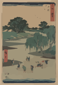 Travelers Crossing A Stream, With Men Carrying Women On Their Backs And Two Porters Carrying A Sedan Chair Clip Art