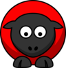 Sheep - Red On Red On Black Eyes Down  Clip Art